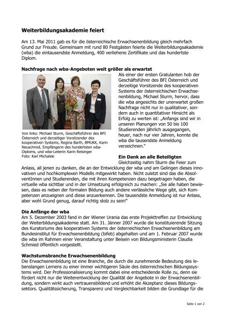 bfi gratuliert der Weiterbildungsakademie