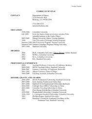CURRICULUM VITAE CONTACT: Department of History 3229 ...