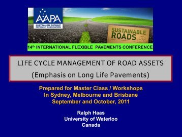 life cycle management of road assets - Aapaq.org