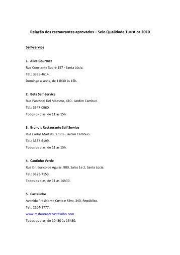 Relação dos restaurantes aprovados – Selo Qualidade Turística 2010