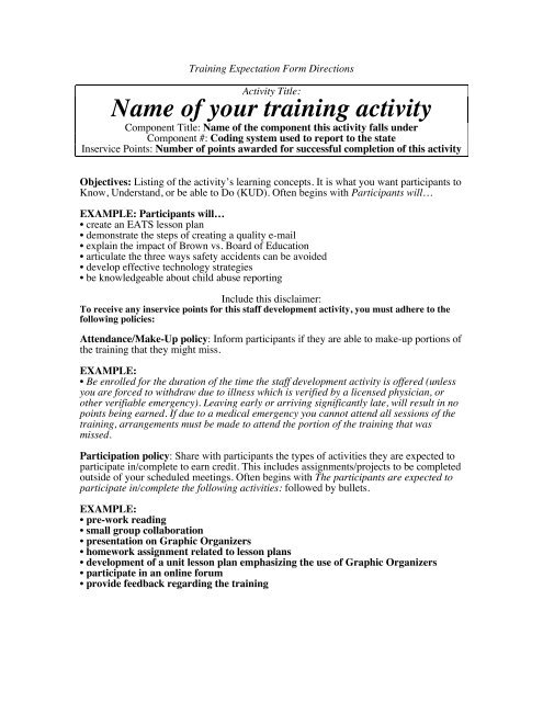 Training Expectation Form (Directions for Completing)