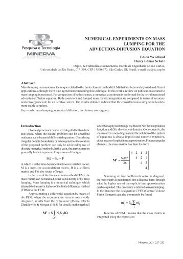 numerical experiments on mass lumping for the advection ... - fipai