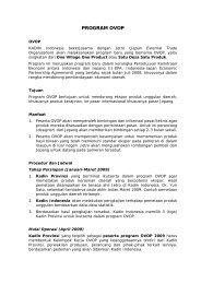 PROGRAM OVOP - Kadin Indonesia