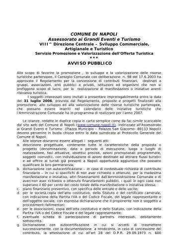 COMUNE DI NAPOLI Assessorato ai Grandi Eventi e Turismo ...