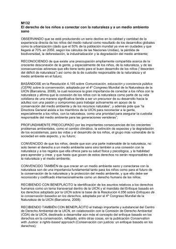 M132 El derecho de los niños a conectar con la ... - IUCN Portals