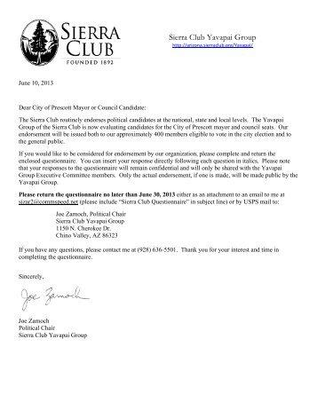 2013 City of Prescott Questionnaire - Arizona Sierra Club