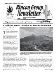 Coalition Seeks Solution to Border Dilemma - Arizona Sierra Club