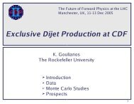 Exclusive Dijet Production at CDF - Rockefeller HEP Group - The ...