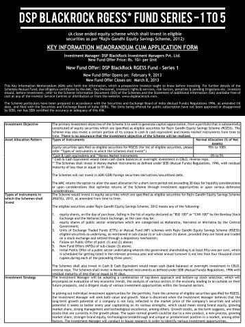 DSP BlackRock RGESS* Fund series - 1 to 5 - Edelweiss - Retail ...
