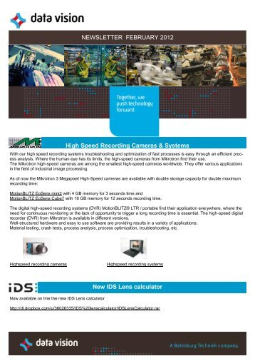 NEWSLETTER FEBRUARY 2012 New IDS Lens ... - Data Vision