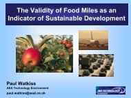 The Validity of Food Miles as an Indicator of Sustainable Development