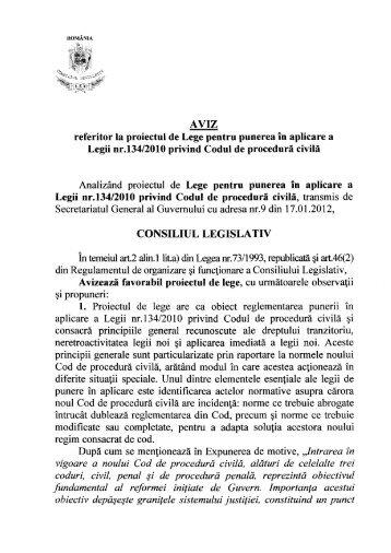 AVIZ referitor la proiectul de Lege pentru punerea în aplicare a Legii ...