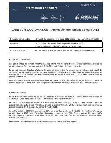 Information trimestrielle 31 mars 2012 - Dassault Aviation
