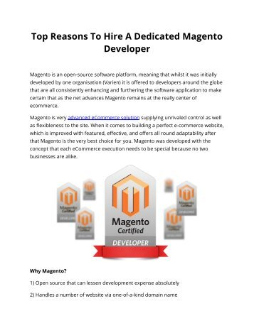 Top Reasons To Hire A Dedicated Magento Developer