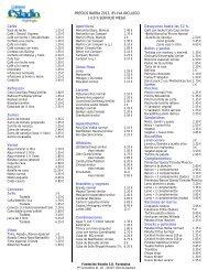 PRECIOS BARRA 2012, 8% IVA INCLUIDO - Fundación Estadio