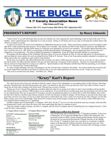 2013 May Newsletter.pub - 5th Battalion 7th Cavalry Association