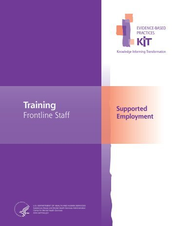 Supported Employment: Training Frontline Staff - SAMHSA Store ...