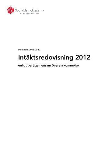 Intäktsredovisning 2012 - Socialdemokraterna