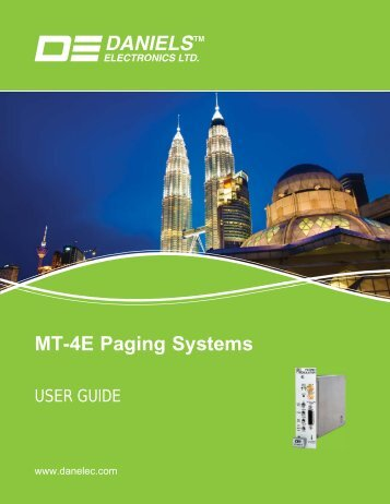 MT-4E Paging Systems User Guide - Daniels Electronics