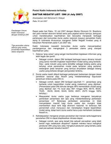 Posisi Kadin Indonesia terhadap DAFTAR NEGATIF LIST / DNI (4 ...