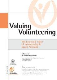 The Economic Value of Volunteering in South Australia