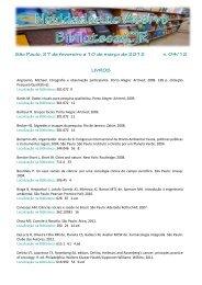 São Paulo, 27 de fevereiro a 10 de março de 2012 n. 04/12 LIVROS