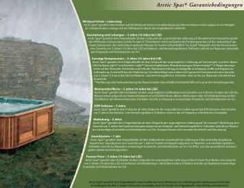 Arctic Spas Garantiebedingungen ®