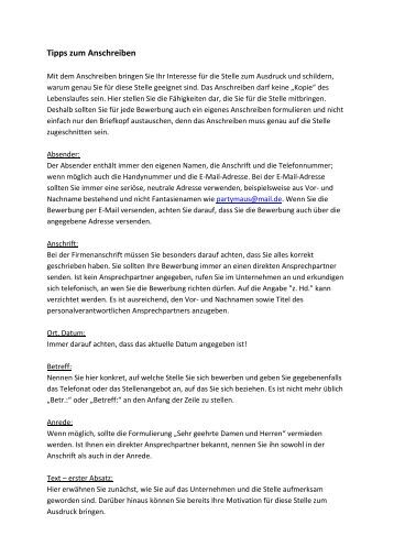 Tipps Für Ihre Bewerbungsunterlagen Das Anschreiben - Stadtwerke