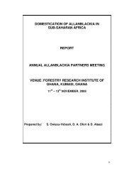 domestication of allanblackia in sub-saharan africa report annual ...