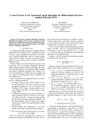 A novel Service Level Agreement based algorithm for Differentiated ...