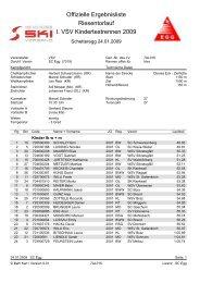 Offizielle Ergebnisliste Riesentorlauf I. VSV Kindertestrennen 2009