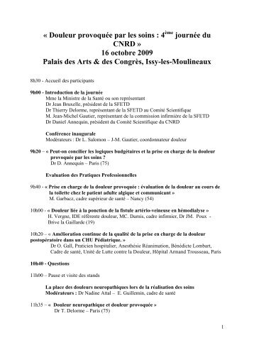 Douleur provoquée par les soins : 4 journée du CNRD » 16 octobre ...