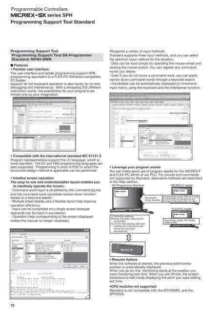 Programming tools for Micrex-SX Standard - Fuji Automation