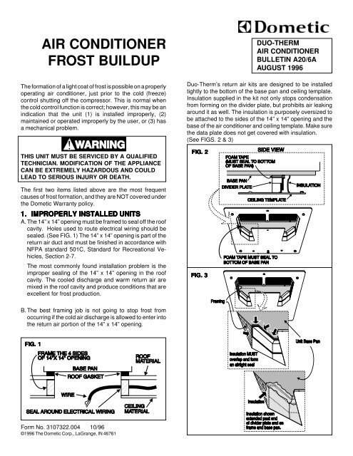 AIR CONDITIONER FROST BUILDUP - Bryant RV Services