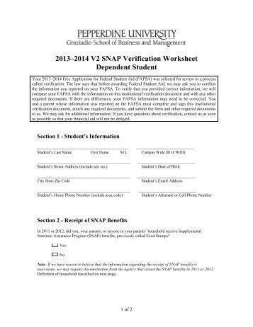 Worksheets Verification Worksheet Dependent Student verification worksheet dependent student v2 snap student