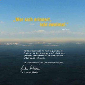 WIchtIges zum erlebnIs - Jochen Schweizer