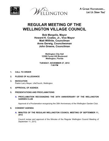 REGULAR MEETING OF THE WELLINGTON VILLAGE COUNCIL