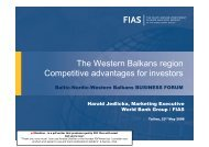 The Western Balkans region Competitive advantages for investors