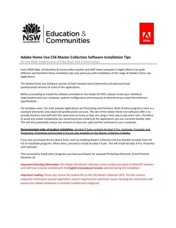 Adobe Home Use CS6 Master Collection Software ... - SI Group