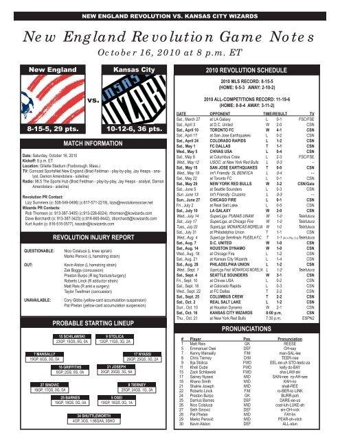 New England Revolution Game Notes - Kraft Sports Group Portal