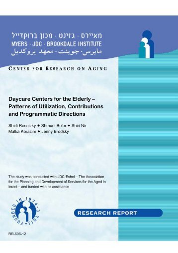 Daycare Centers for the Elderly – Patterns of Utilization ...
