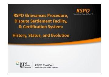 RSPO Grievances Procedure, Dispute Settlement Facility ...