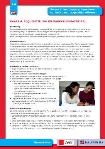 KAART 6. ACQUISITIE, PR- EN ... - Taalwerkt.nl