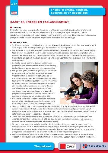 Kaart 16: intake en taalassessment - Taalwerkt.nl