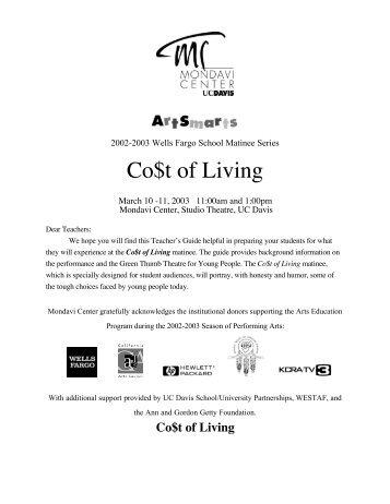 Co$t of Living - Mondavi Center - UC Davis