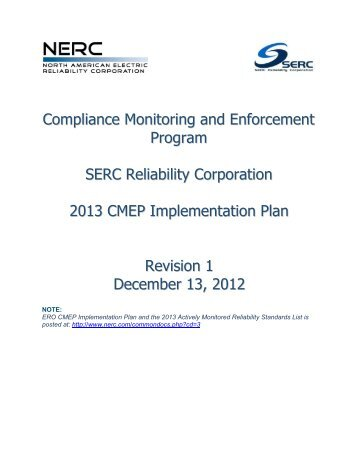 2011 Implementation Plan - SERC Home Page