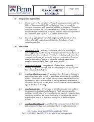 lead management program - Environmental Health & Radiation Safety