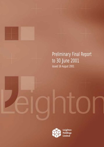Preliminary Final Report to 30 June 2001 - Leighton Holdings