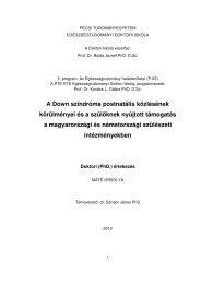 értekezés - PTE Egészségtudományi Kar - Doktori Iskola - Pécsi ...