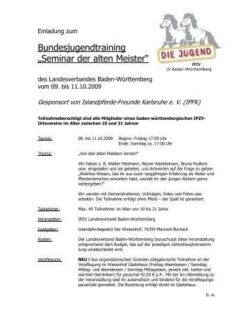 """Bundesjugendtraining """"Seminar der alten Meister"""" - Die Jugend BW"""